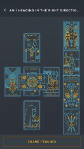 Golden Tread Tarot reading inside application
