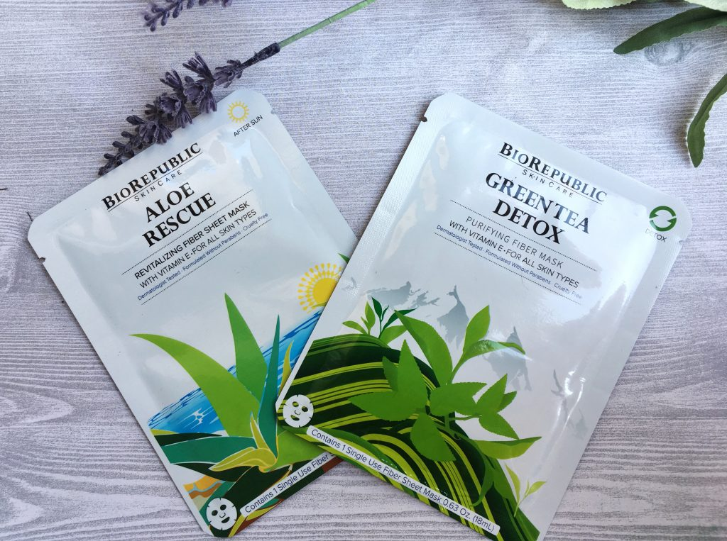 aloe rescue and green tea detox masks